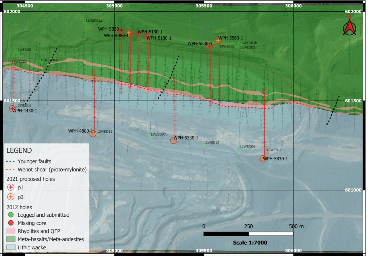Figure 1: Plan map showing planned drill hole sites at historical Wenot Pit.