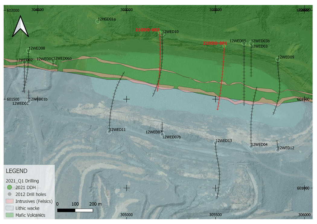 Figure 1: Simplified geology map showing the location of holes 21ODD-001 and 21ODD-002 in relation to the Wenot Pit.